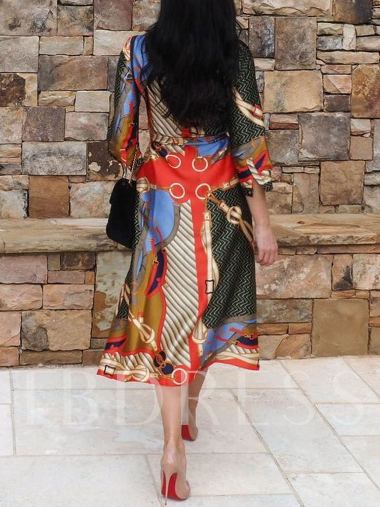 Print Lapel Three-Quarter Sleeve Mid-Calf Fashion Women's Dress
