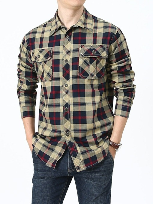 Casual Pocket Lapel Plaid Single-Breasted Men's Shirt