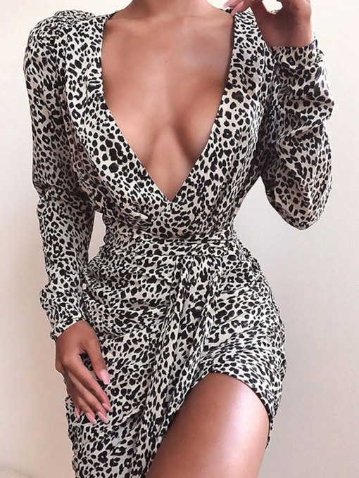 Leopard V-Neck Above Knee Long Sleeve Lace-Up Pullover Women's Dress