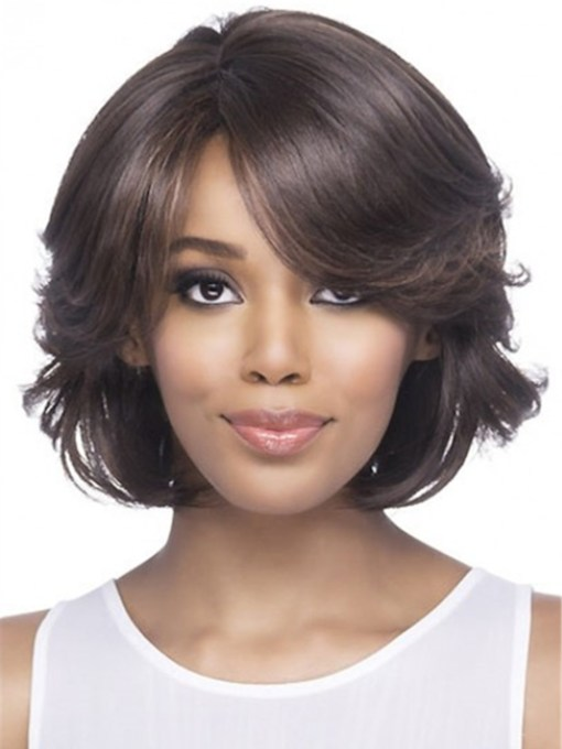 Synthetic Full Bob Sytle Wavy Hair Capless With Bangs 120% 14 Inches Wigs