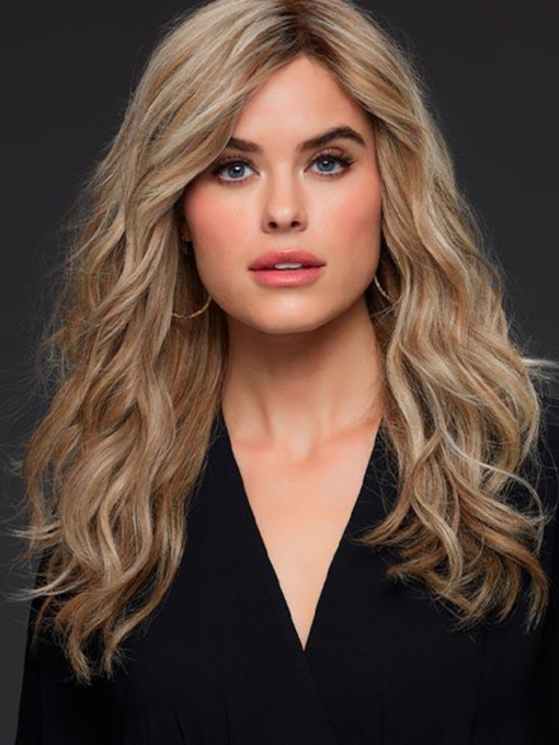 Women's Long Length Layered Hairstyle Wavy Human Hair Capless 120% 22 Inches Wigs
