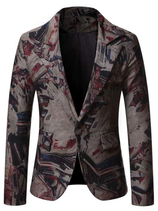 Casual Notched Lapel Print Slim Men's Leisure Blazer