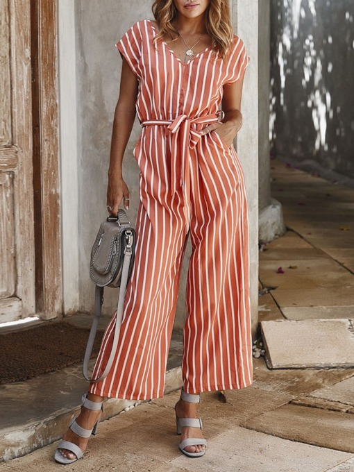 Stripe Vintage Ankle Length Belt Loose Women's Jumpsuit