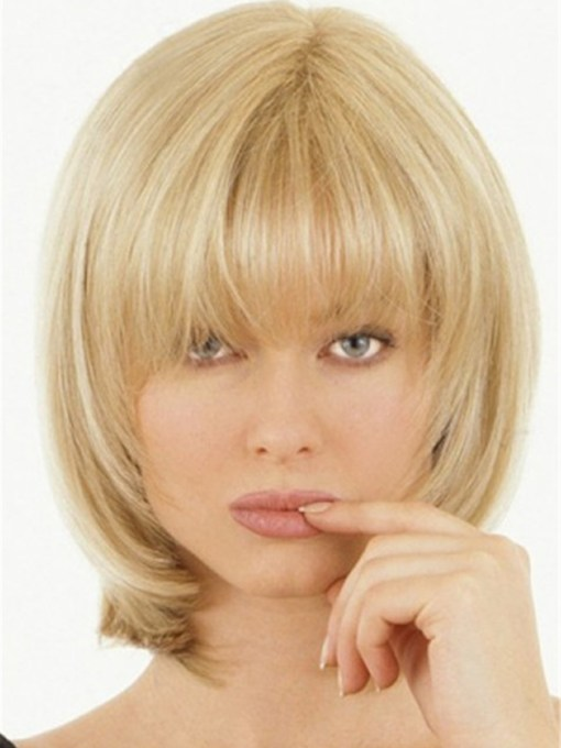 Shoulder Length Natural Straight Synthetic Hair With Bangs Capless Women 120% 14 Inches Wigs