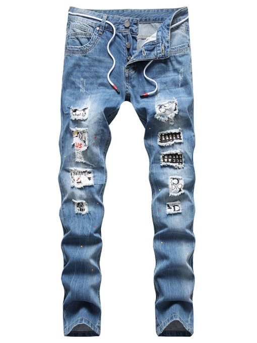 Denim Hole Straight Button Men's Jeans