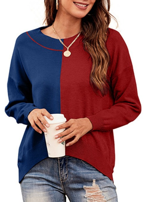 Patchwork Regular Thick Slim Women's Sweater