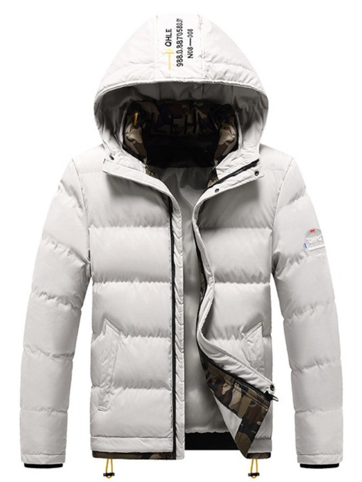 Appliques Standard Hooded Casual Men's Down Jacket