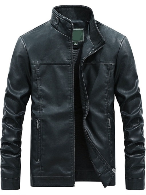 PU Stand Collar Plain Standard Casual Men's Leather Jacket