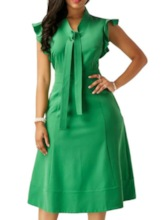 Office Lady Plus Size Mid-Calf Cap Sleeve Pullover Bodycon Women's Dress