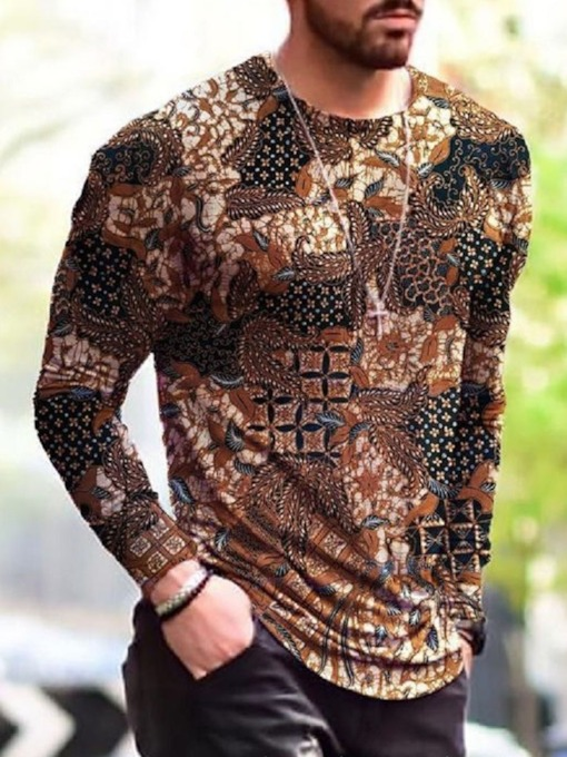 Print Casual Floral Round Neck Pullover Men's T-shirt