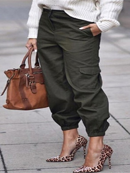 Loose Patchwork Plain Overall Women's Casual Pants