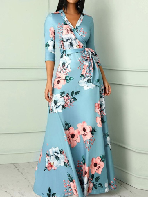 Three-Quarter Sleeve Lace-Up Floor-Length V-Neck Sweet Women's Dress