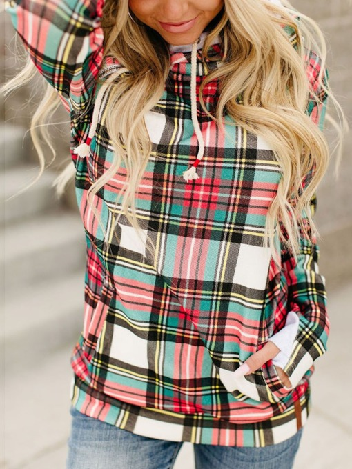 Regular Plaid Print Long Sleeve Women's Hoodie