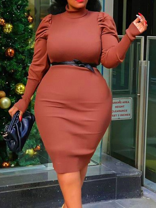 Bodycon Long Sleeve Mid-Calf Turtleneck Fall Women's Dress