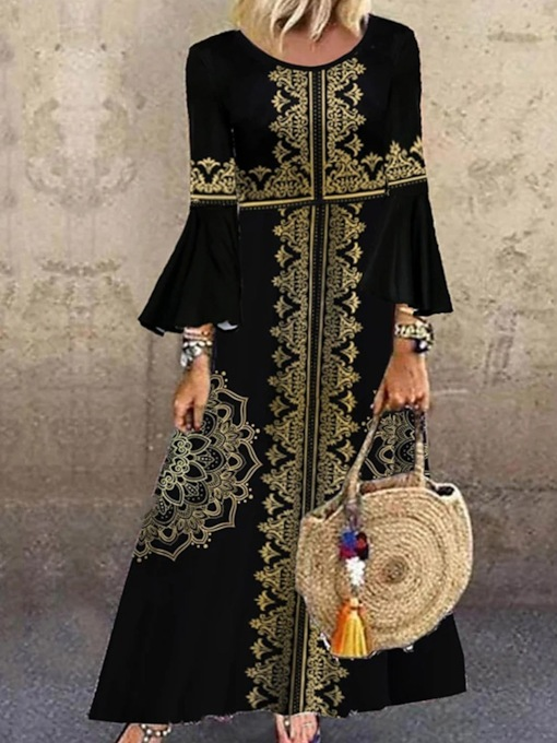 Nine Points Sleeve Embroidery Round Neck Floor-Length Fall Women's Dress