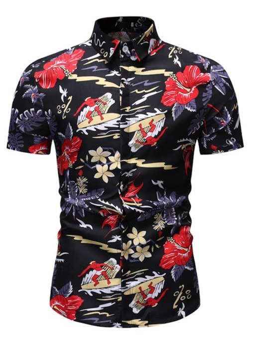 Lapel Single-Breasted Floral Print European Men's Shirt
