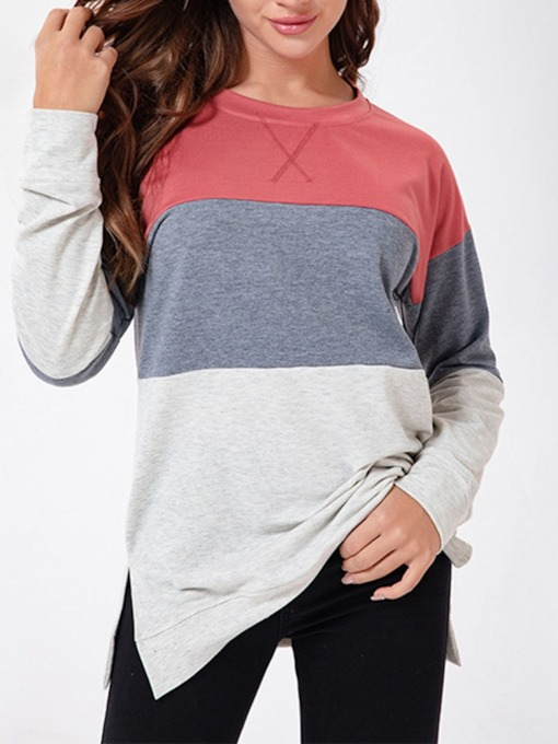 Regular Print Stripe Long Sleeve Color Block Women's Sweatshirt