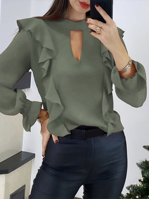 Plain Hollow Long Sleeve Pullover Women's Blouse
