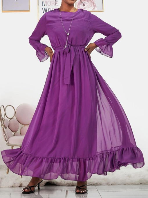Floor-Length Lace-Up Long Sleeve Expansion Women's Dress