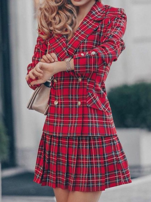 Plaid Fashion Coat Button Double-Breasted Women's Two Piece Sets