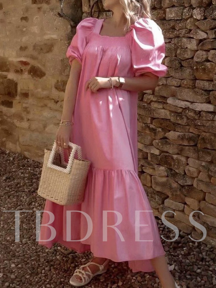 Half Sleeve Ankle-Length Square Neck Pullover Women's Dress