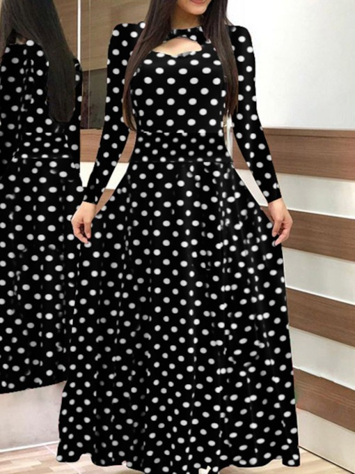 Floor-Length Long Sleeve Print Pullover Women's Dress