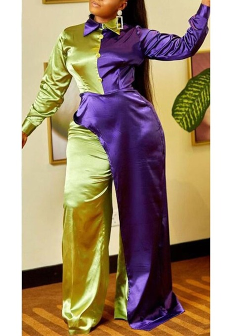 Full Length Western Patchwork Color Block Mid Waist Women's Jumpsuit