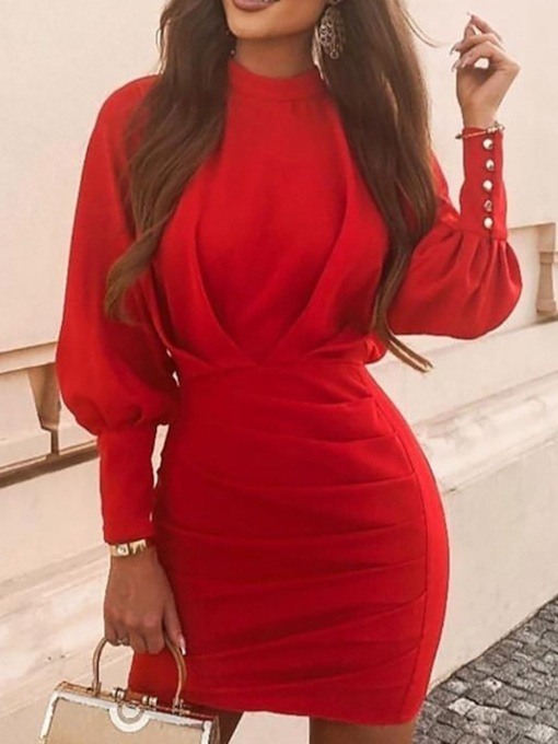 Stand Collar Nine Points Sleeve Pleated Above Knee Pullover Women's Dress
