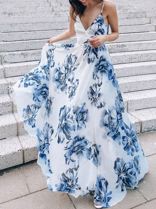 Floor-Length Print V-Neck Sleeveless Floral Women's Dress