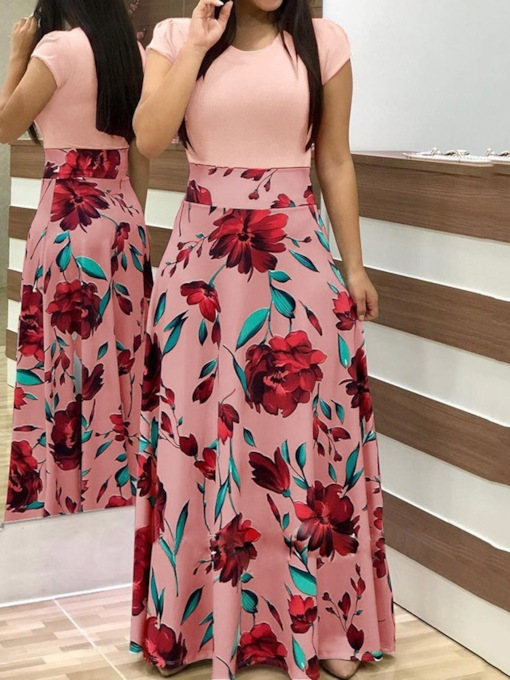 Floral Maxi Dress Short Sleeve Round Neck Print Floor-Length Floral Women's Dress
