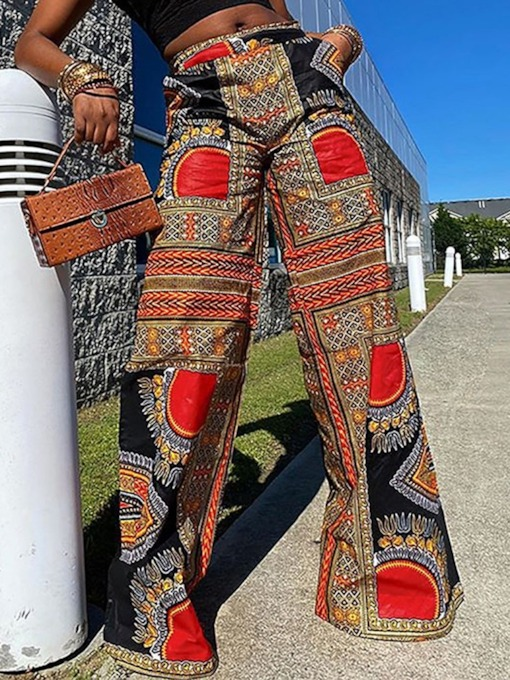 Ethnic Color Block Loose Patchwork High Waist Women's Casual Pants
