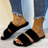 Slip-On Flat With Flip Flop Feather Plain Slippers