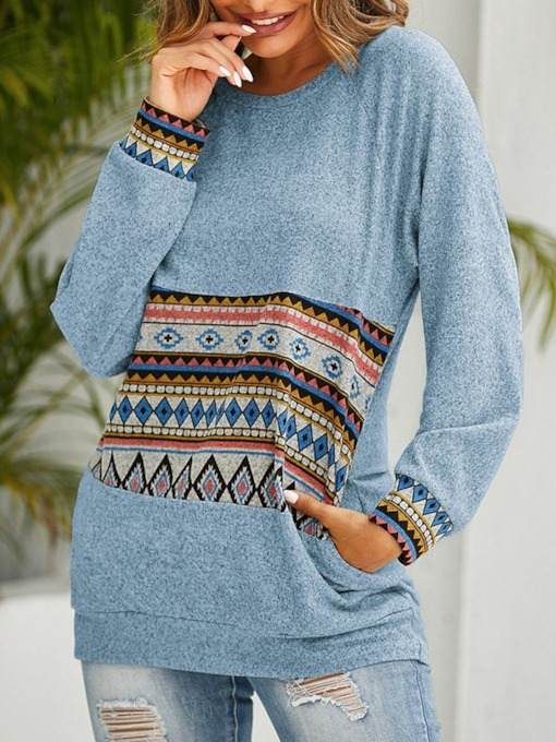 Print Color Block Regular Mid-Length Women's Sweatshirt