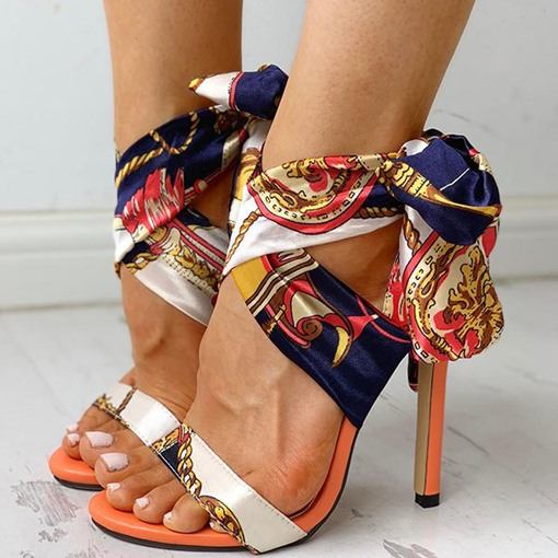 Stiletto Heel Lace-Up Pointed Toe Strappy Western Sandals