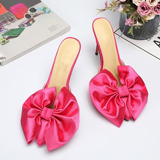 Slip-On Bow Closed Toe Stiletto Heel Western Slippers