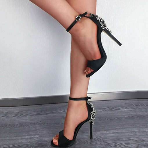 Cloth Pointed Toe Buckle Stiletto Heel Western Sandals