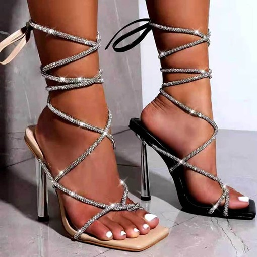 Stiletto Heel Lace-Up Square Toe High-Cut Upper Sandals