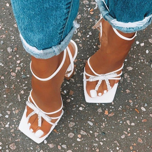 Square Toe Stiletto Heel Buckle Western Sandals