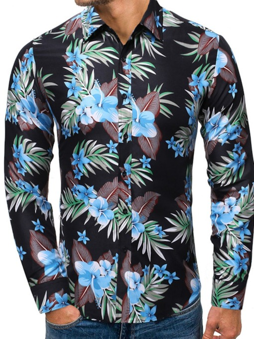 Lapel Print Floral Casual Single-Breasted Men's Shirt