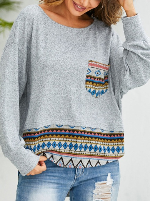 Print Stripe Regular Round Neck Women's Sweatshirt