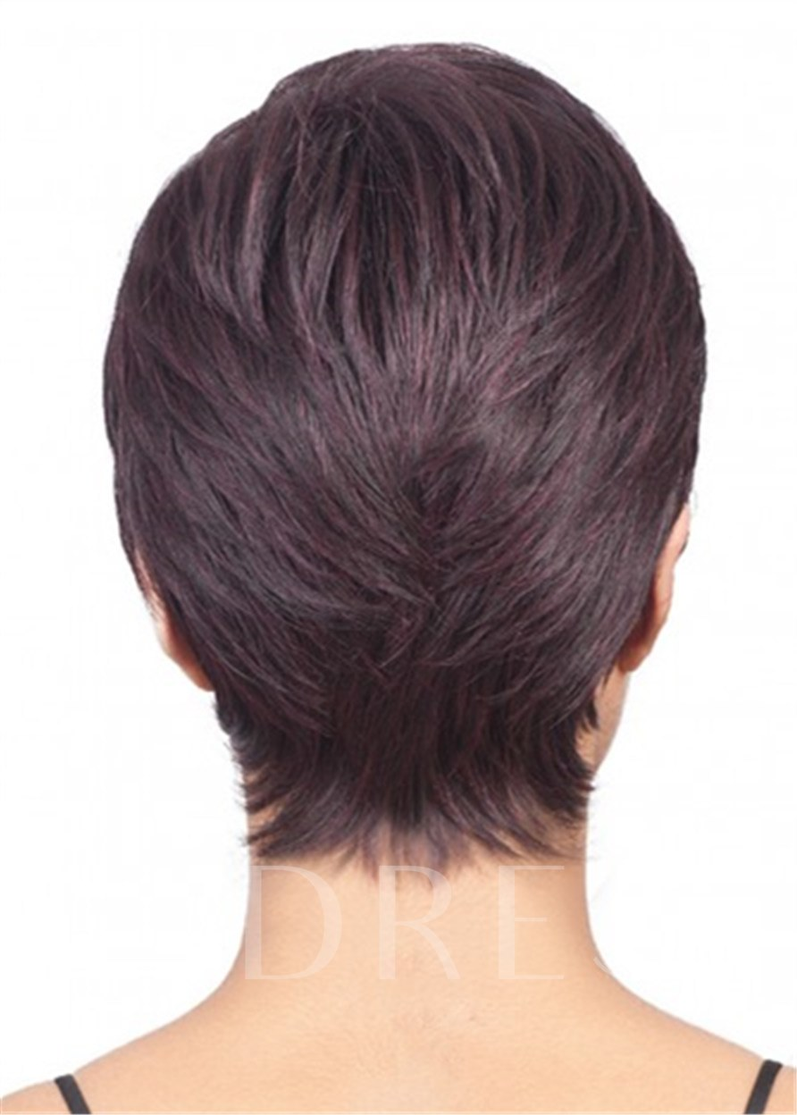 African American Layered Straight Short Pixie Wig For Women 120% 8 Inches Wigs