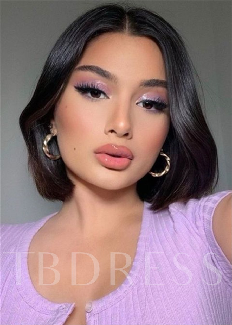 Middle Part Short Bob Human Hair Straight Wig With Bangs 120% 12 Inches Wigs