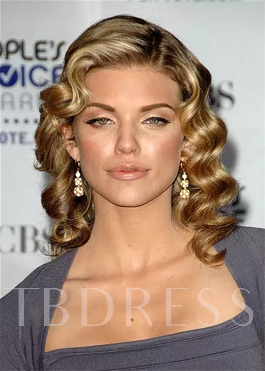 Retro Waves Hairstyle Human Hair Wigs With Pin-Up Bangs 120% 16 Inches Wigs