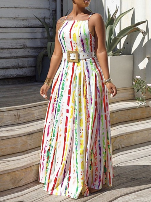 Western Floor-Length Print Sleeveless Spaghetti Strap Women's Dress