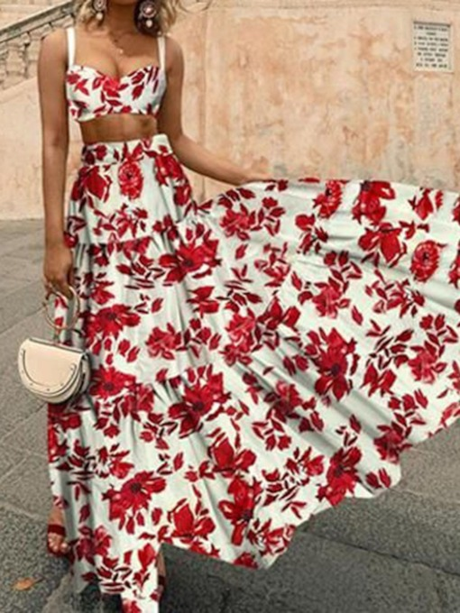 Fashion Skirt Floral Print Pullover Women's Two Piece Sets