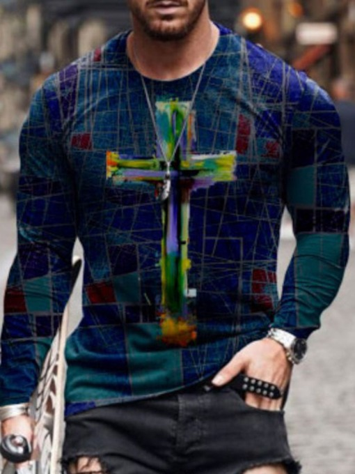 Standard Print Round Neck Casual Pullover Men's T-shirt
