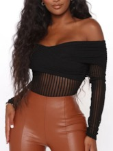 Sexy Shorts See-Through Plain Slim Women's Rompers