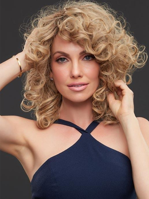 Medium Curly Hairstyle Women's Curly Human Hair Capless 120% 18 Inches Wigs