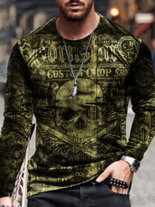 Round Neck Print Casual Skull Pullover Men's T-shirt