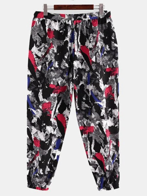 Thin Print Mid Waist Men's Casual Pants